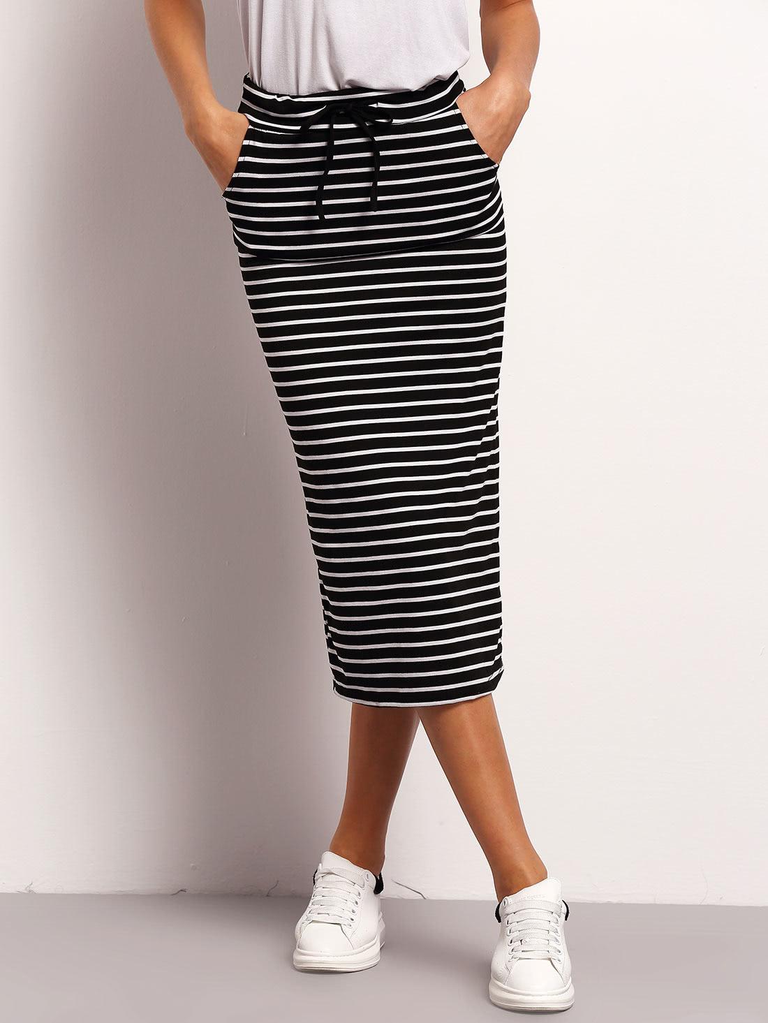 Black White Drawstring Waist Striped Skirt