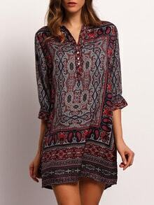 Multicolor V Neck Tribal Print Shirt Dress