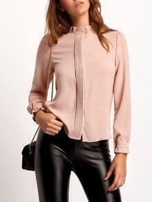 Pink Frill Neck Long Sleeve Slim Blouse