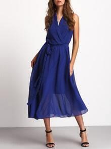 Blue Deep V Neck Sleeveless Tie Waist Dress