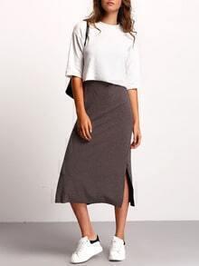 Vestido tirante fino con abertura con top crop -gris blanco