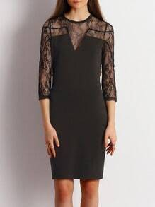 Black Crew Neck Keyhole Back Lace Dress