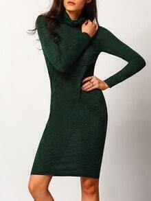 Dark Green Long Sleeve Sheath Dress