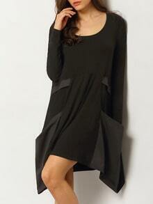 Black Long Sleeve Pockets Dress