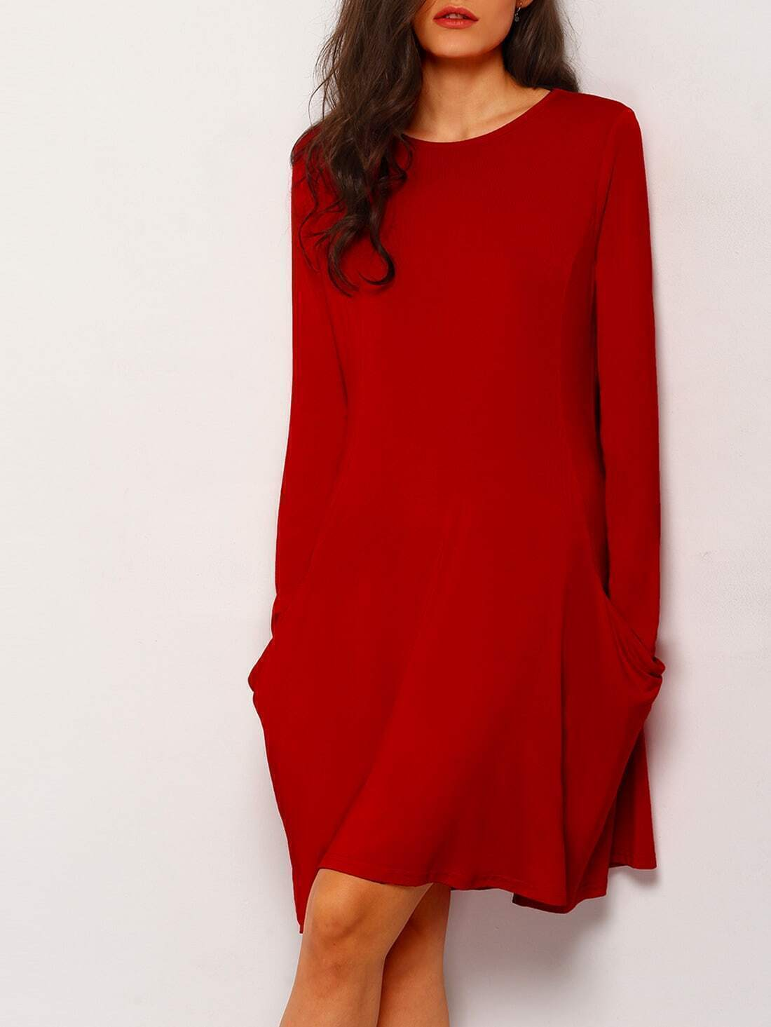 Robe d contract manches longues avec poches rouge french for Interieur paupiere inferieure rouge