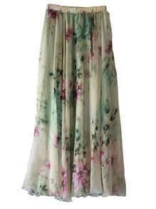 Florals Elastic Waist Skirt