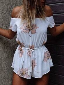 Off The Shoulder Flower Print Romper