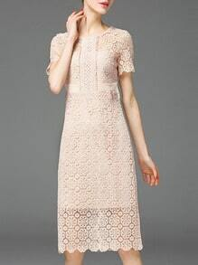 Pink Crochet Hollow Out Sheath Scallop Dress