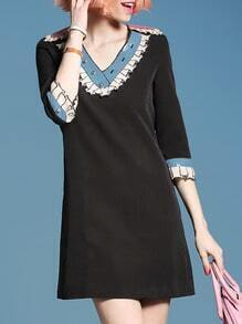 Black V Neck Sequined Pockets Shift Dress