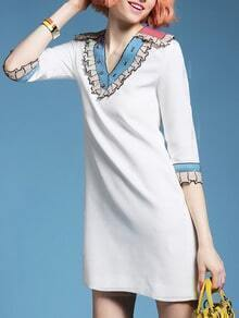 White V Neck Sequined Pockets Shift Dress
