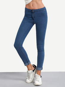 pantalon amincissant taille élastique -bleu