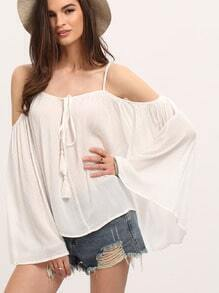 White Spaghetti Strap Cold Shoulder Bell Sleeve Blouse