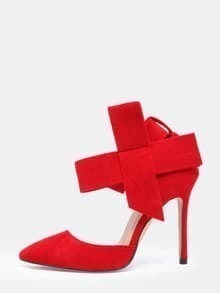 Red With Bow Slingbacks High Heeled Pumps