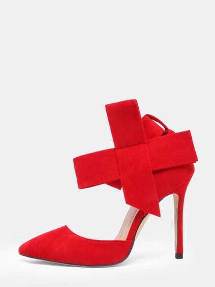 Red Slingback Heels With Bow $33