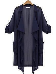Rolled Sleeve Ruffle-Front Drape Coat