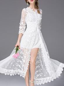 White V Neck Gauze Embroidered Dress