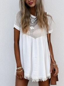Sports Mesh Insert Fringe Dress