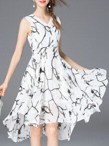White V Neck Print A-Line Dress