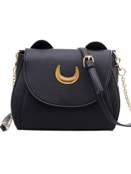 Crescent Patch Flap Bag With Cat Ears - Black