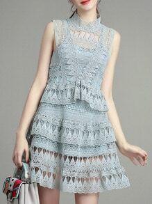 Mint Crochet Hollow Out Ruffle Dress