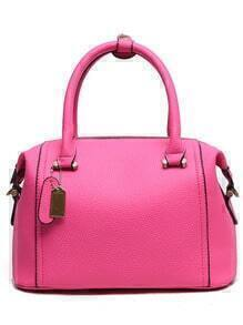 Embossed Faux Leather Structured Bag - Hot Pink