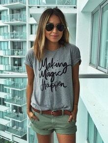 Grey Short Sleeve Letter Print T-Shirt