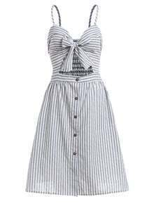 Vertical Striped Knotted Front Cami Dress