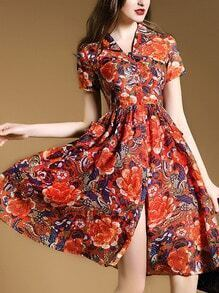 Red V Neck Pockets Print A-Line Dress