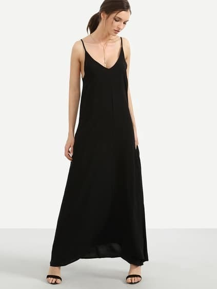 Loose-Fit Maxi Cami Dress With Pockets - Black
