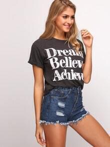 Dark Grey Letter Print T-Shirt