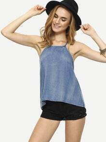 Strappy High-Low Blue Denim Cami Top
