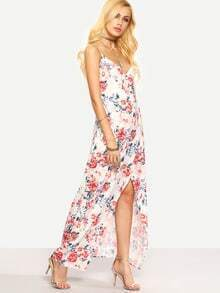 Flower Print Cross Wrap Asymmetric Cami Dress - White