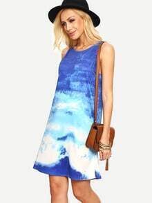 Clouds Print Tank Dress - Blue