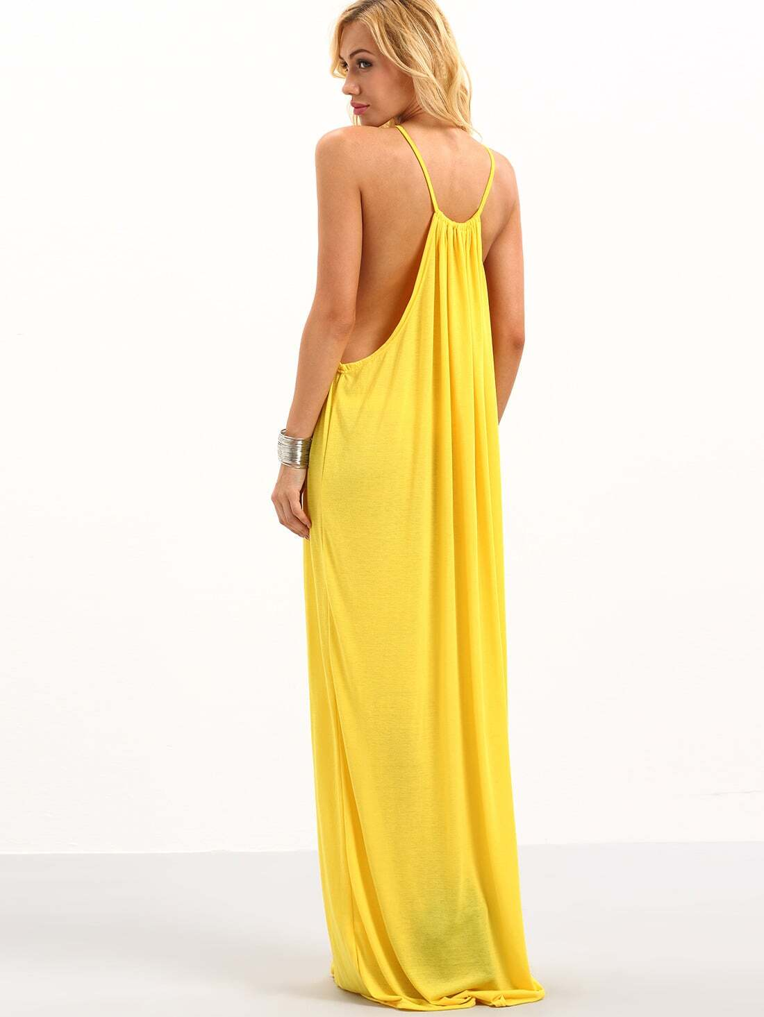 Halter Neck Drop Armhole Loose Fit Dress Yellowfor Women