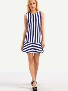 Ruffled Hem Sleeveless Vertical Striped Dress - Blue