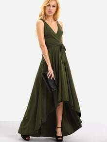 Self-Tie Surplice Front High-Low Dress - Olive Green