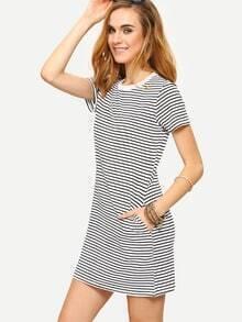Contrast Neck Black White Striped Tee Dress