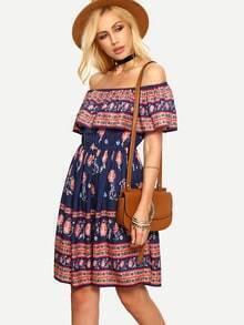 Ruffled Off-The-Shoulder Flower Print Dress - Blue