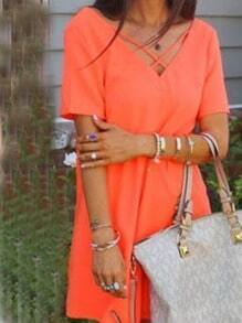 Lattice Neck Loose-Fit Chiffon Dress - Orange