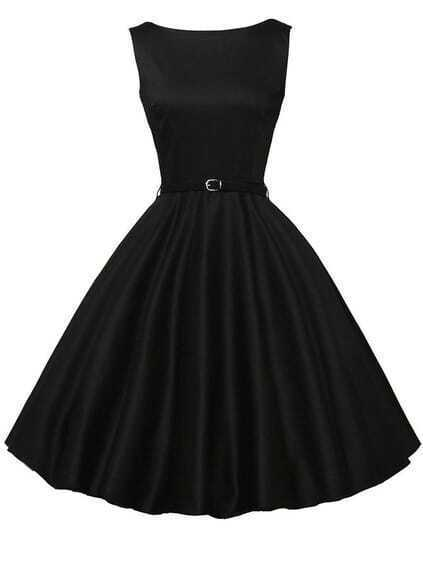Belted Fit & Flare Sleeveless Dress - Black