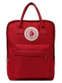 Dual Handle Rectangle Canvas Backpack - Orange