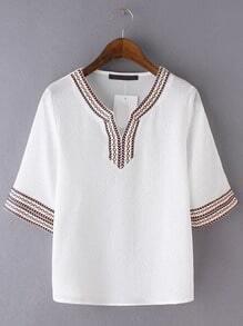White V Neck Plait Shirt