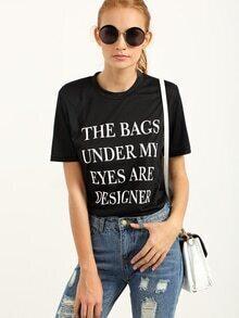 T-shirt imprimé lettres manche courte