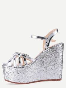 Silver Bow-tie Open Toe Wedge Sandals