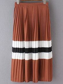 Color Block Contrast Pleated Casual Skirt