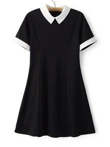 Vestido entallado solapa con cremallera - negro
