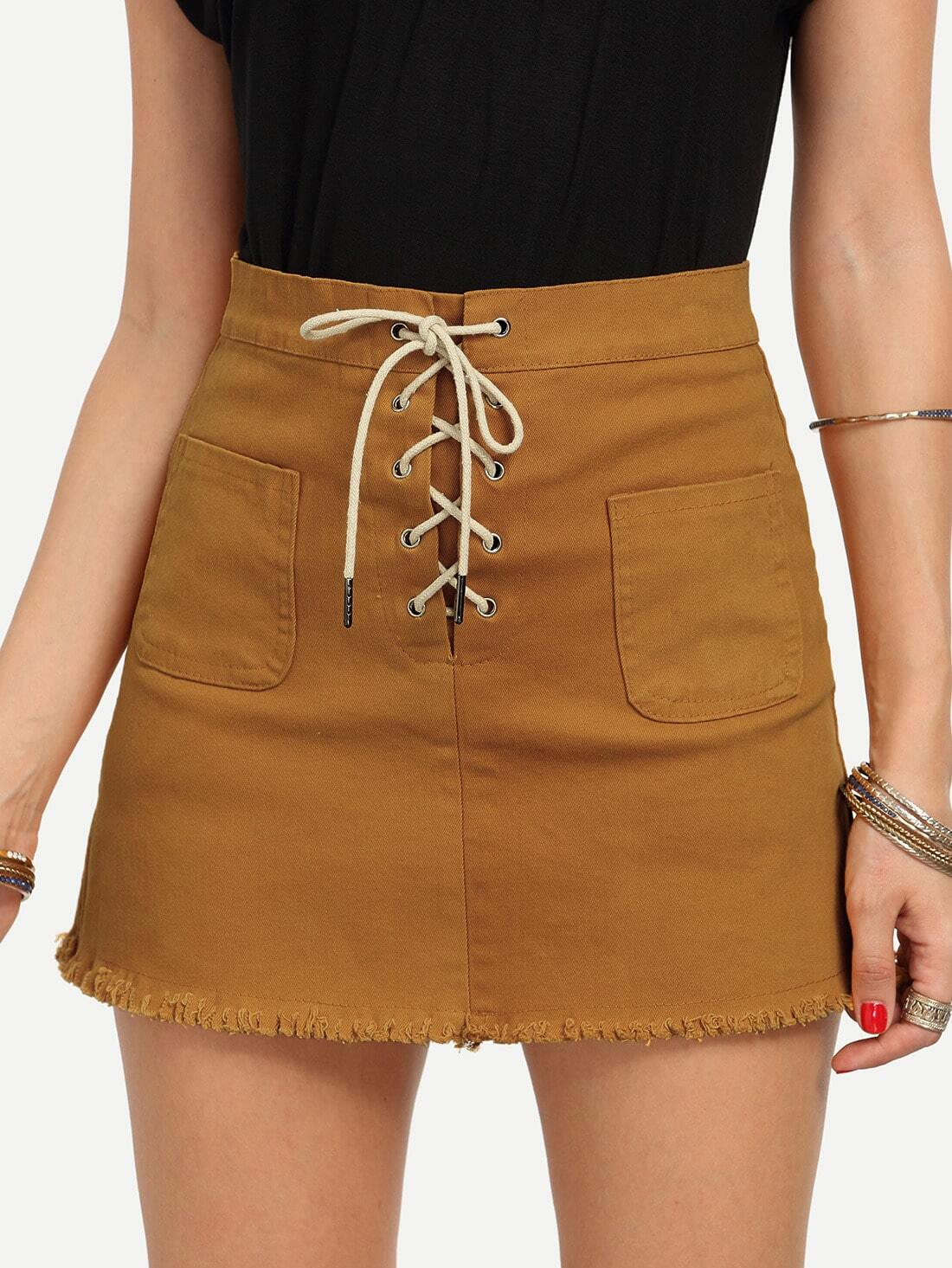 Lace-up Fly Dual Pocket Raw Hem Skirt - Yellow