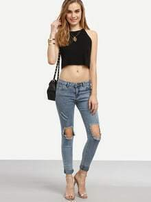 Ripped Denim Fitted Pant