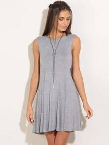Grey Layered Back Sleeveless Swing Dress