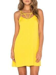 Yellow Backless Spaghetti Strap Dress